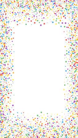 Festive extra confetti. Celebration stars. Rainbow confetti on white background. Graceful festive overlay template. Vertical vector background.