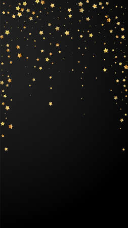 Gold stars random luxury sparkling confetti. Scattered small gold particles on black background. Enchanting festive overlay template. Dramatic vector background.
