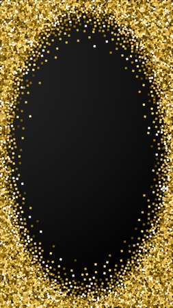 Gold glitter luxury sparkling confetti. Scattered small gold particles on black background. Dramatic festive overlay template. Mesmeric vector background.