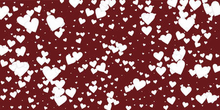 White heart love confettis. Valentine's day falling rain imaginative background. Falling stitched paper hearts confetti on maroon background. Enchanting vector illustration.