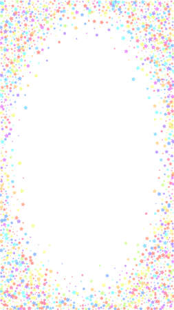 Festive indelible confetti. Celebration stars. Colorful stars on white background. Favorable festive overlay template. Vertical vector background.