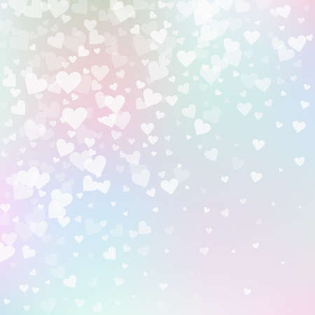 White heart love confettis. Valentine's day gradient captivating background. Falling transparent hearts confetti on soft background. Dazzling vector illustration.