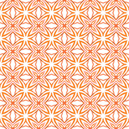 Tropical seamless pattern. Orange glamorous boho chic summer design. Hand drawn tropical seamless border. Textile ready delightful print, swimwear fabric, wallpaper, wrapping. Imagens