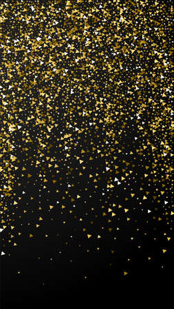 Gold triangles luxury sparkling confetti. Scattered small gold particles on black background. Enchanting festive overlay template. Alluring vector background.