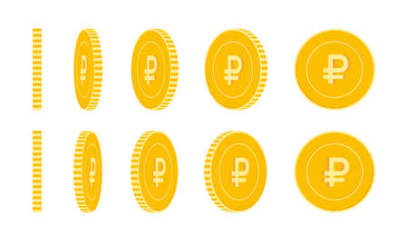 Russian ruble coins set, animation ready. RUB yellow coins rotation. Russia metal money in different positions isolated. Extraordinary cartoon vector illustration. Vecteurs