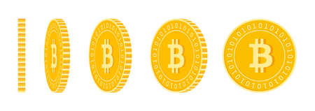 Bitcoin, internet currency coins set, animation ready. BTC yellow coins rotation. Cryptocurrency, digital metal money in different positions isolated. Bewitching cartoon vector illustration. Vecteurs