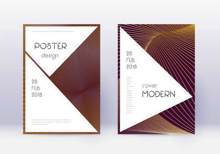 Stylish cover design template set. Gold abstract lines on maroon background. Fair cover design. Sublime catalog, poster, book template etc.