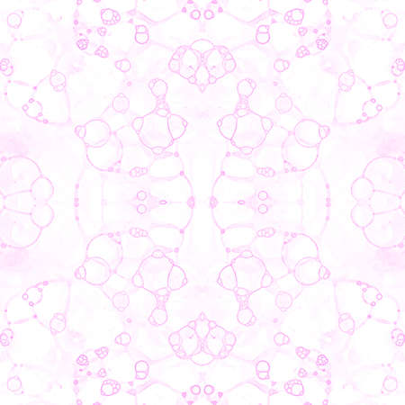 Pink seamless pattern. Amazing delicate soap bubbles. Lace hand drawn textile ornament. Kaleidoscope mandala lingerie print. Memorable abstract watercolor background.