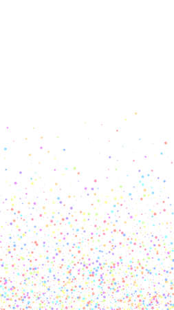 Festive surprising confetti. Celebration stars. Colorful stars small on white background. Great festive overlay template. Vertical vector background.