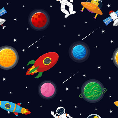 Cosmic fabric for kids. Astronaut with rocket and alien in the open space Cute design for kids fabric and wrapping paper. Flat cartoon style funny cosmic fabric. Ilustración de vector