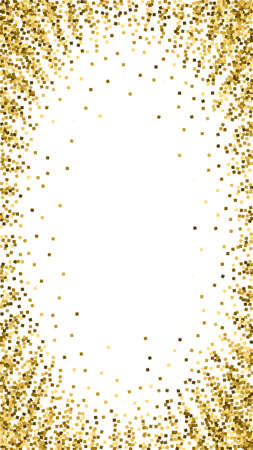 Gold glitter luxury sparkling confetti. Scattered small gold particles on white background. Dramatic festive overlay template. Fantastic vector background.