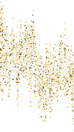 Gold triangles luxury sparkling confetti. Scattered small gold particles on white background. Eminent festive overlay template. Dazzling vector background.