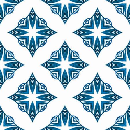 Textile ready interesting print, swimwear fabric, wallpaper, wrapping. Blue ravishing boho chic summer design. Oriental arabesque hand drawn border. Arabesque hand drawn design.