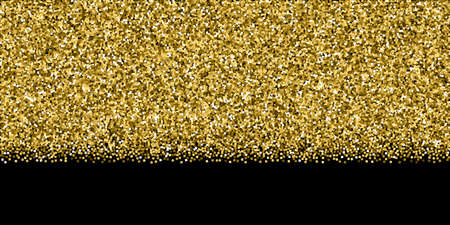 Gold glitter luxury sparkling confetti. Scattered small gold particles on black background. Bold festive overlay template. Sublime vector illustration.
