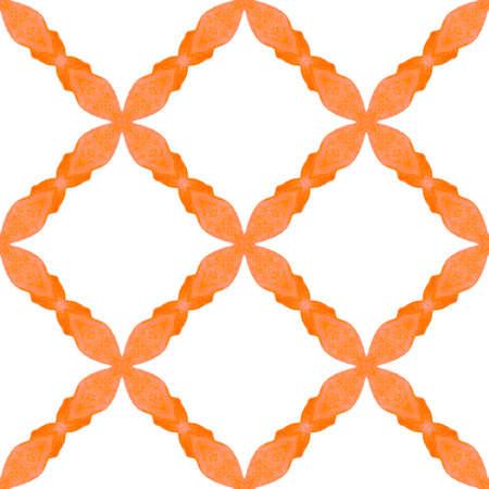 Textile ready exquisite print, swimwear fabric, wallpaper, wrapping. Orange splendid boho chic summer design. Watercolor medallion seamless border. Medallion seamless pattern. Imagens