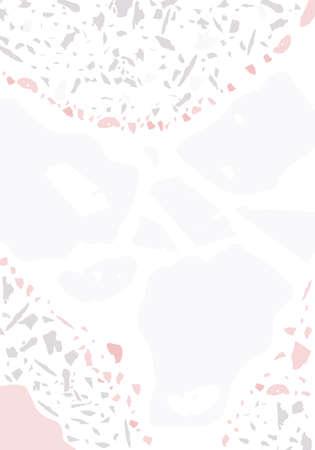 Terrazzo modern abstract template. Pink and gray texture of classic italian flooring. Background made of stones, granite, quartz, marble, concrete. Venetian terrazzo trendy vector backdrop Vektoros illusztráció