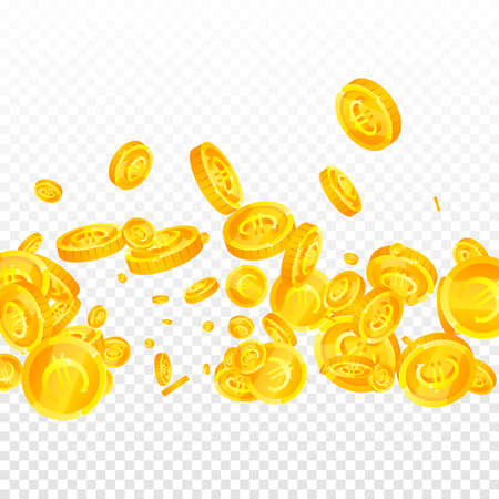 European Union Euro coins falling. Exquisite scattered EUR coins. Europe money. Glamorous jackpot, wealth or success concept. Vector illustration. Banque d'images - 167023724