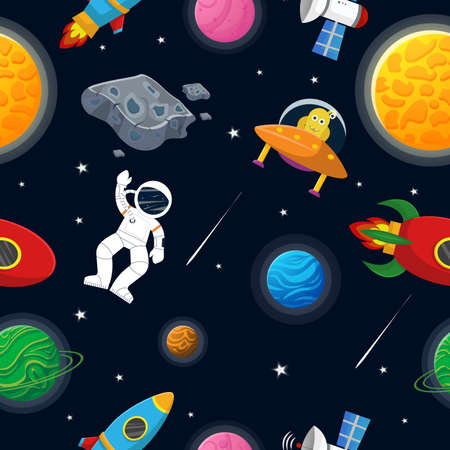 Galaxy pattern cartoon style. Astronaut with rocket and alien in the open space Cute design for kids fabric and wrapping paper. Flat cartoon style funny galaxy pattern.