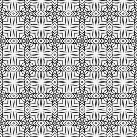 Textile ready cute print, swimwear fabric, wallpaper, wrapping. Black and white rare boho chic summer design. Arabesque hand drawn design. Oriental arabesque hand drawn border.