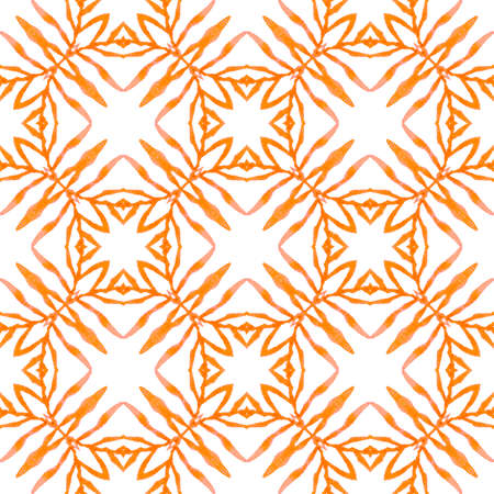 Textile ready resplendent print, swimwear fabric, wallpaper, wrapping. Orange posh boho chic summer design. Tropical seamless pattern. Hand drawn tropical seamless border. Stok Fotoğraf