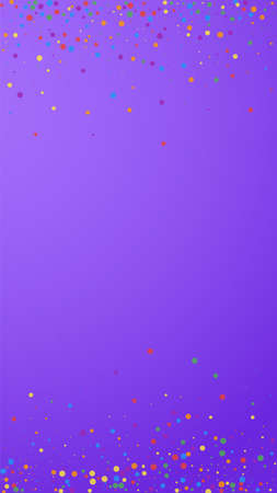 Festive splendid confetti. Celebration stars. Colorful confetti on violet background. Fetching festive overlay template. Vertical vector background. Çizim