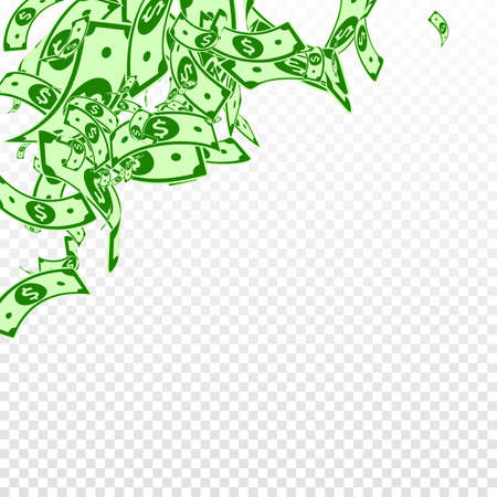 American dollar notes falling. Messy USD bills on transparent background. USA money. Creative vector illustration. Uncommon jackpot, wealth or success concept. Çizim
