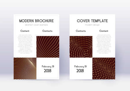 Business cover design template set. Gold abstract lines on maroon background. Appealing cover design. Extra catalog, poster, book template etc. Çizim