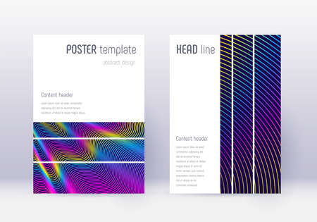 Geometric cover design template set. Rainbow abstract lines on dark blue background. Bewitching cover design. Tempting catalog, poster, book template etc.
