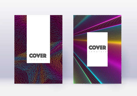 Hipster cover design template set. Rainbow abstract lines on wine red background. Classy cover design. Fine catalog, poster, book template etc.