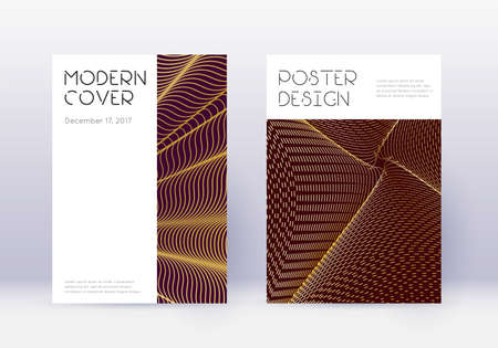 Minimal cover design template set. Gold abstract lines on maroon background. Cute cover design. Exceptional catalog, poster, book template etc. Çizim