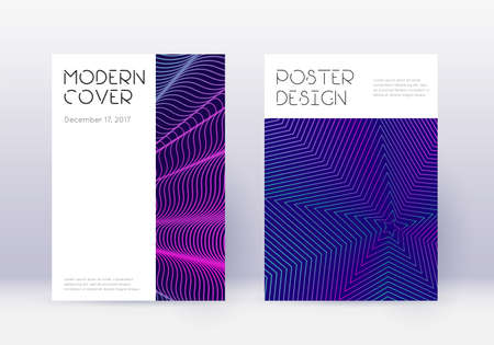 Minimal cover design template set. Neon abstract lines on dark blue background. Dazzling cover design. Comely catalog, poster, book template etc.