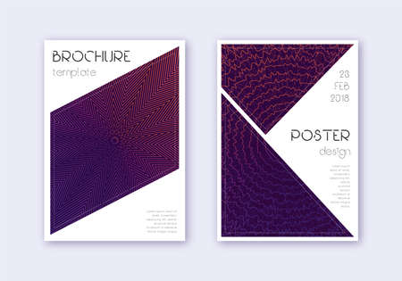 Triangle cover design template set. Violet abstract lines on dark background. Immaculate cover design. Magnificent catalog, poster, book template etc.