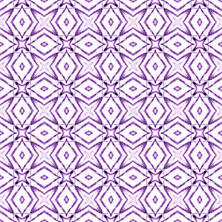 Mosaic seamless pattern. Purple sightly boho chic summer design. Textile ready bold print, swimwear fabric, wallpaper, wrapping.  Hand drawn green mosaic seamless border.
