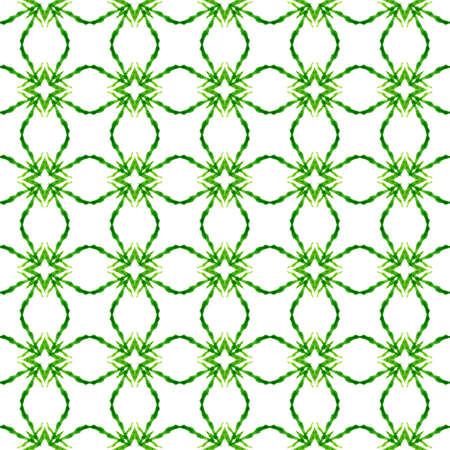 Textile ready symmetrical print, swimwear fabric, wallpaper, wrapping.  Green glamorous boho chic summer design. Green geometric chevron watercolor border. Chevron watercolor pattern.