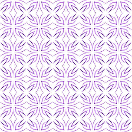 Textile ready mesmeric print, swimwear fabric, wallpaper, wrapping.  Purple energetic boho chic summer design. Hand drawn tropical seamless border.  Tropical seamless pattern.