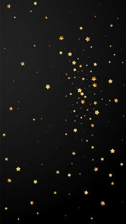Gold stars random luxury sparkling confetti. Scattered small gold particles on black background. Ecstatic festive overlay template. Surprising vector background.