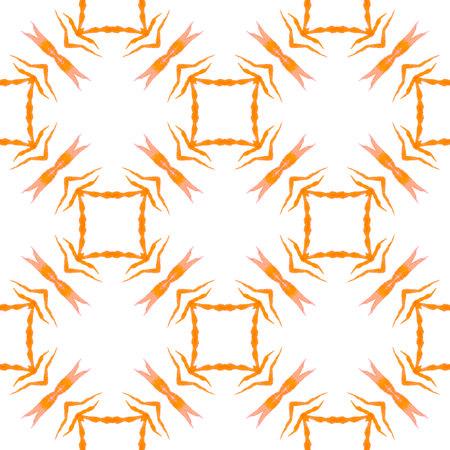 Organic tile. Orange fresh boho chic summer design. Textile ready cute print, swimwear fabric, wallpaper, wrapping.  Trendy organic green border.