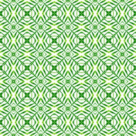 Textile ready stylish print, swimwear fabric, wallpaper, wrapping.  Green terrific boho chic summer design. Organic tile. Trendy organic green border. 版權商用圖片