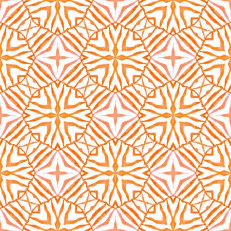 Textile ready elegant print, swimwear fabric, wallpaper, wrapping.  Orange favorable boho chic summer design. Organic tile. Trendy organic green border.