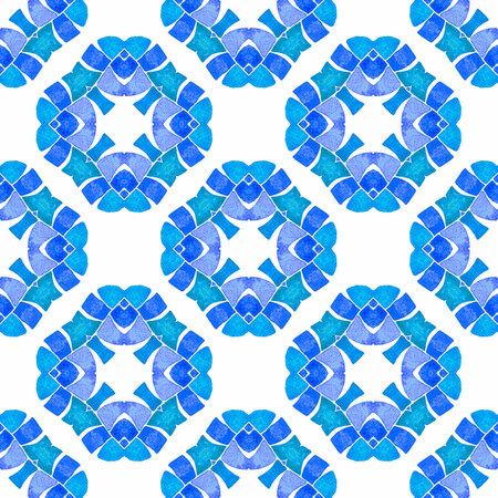 Textile ready original print, swimwear fabric, wallpaper, wrapping.  Blue sublime boho chic summer design. Chevron watercolor pattern. Green geometric chevron watercolor border.