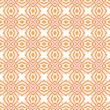 Watercolor medallion seamless border. Orange pretty boho chic summer design. Medallion seamless pattern. Textile ready splendid print, swimwear fabric, wallpaper, wrapping.