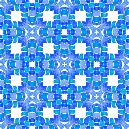 Chevron watercolor pattern. Blue creative boho chic summer design. Green geometric chevron watercolor border. Textile ready precious print, swimwear fabric, wallpaper, wrapping.
