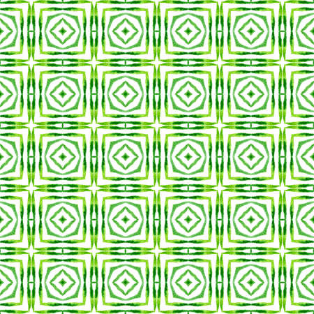 Textile ready grand print, swimwear fabric, wallpaper, wrapping.  Green appealing boho chic summer design. Ikat repeating  swimwear design. Watercolor ikat repeating tile border. 版權商用圖片
