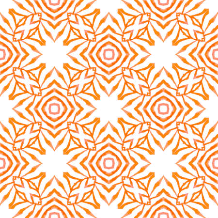 Textile ready wonderful print, swimwear fabric, wallpaper, wrapping.  Orange worthy boho chic summer design. Watercolor medallion seamless border. Medallion seamless pattern.