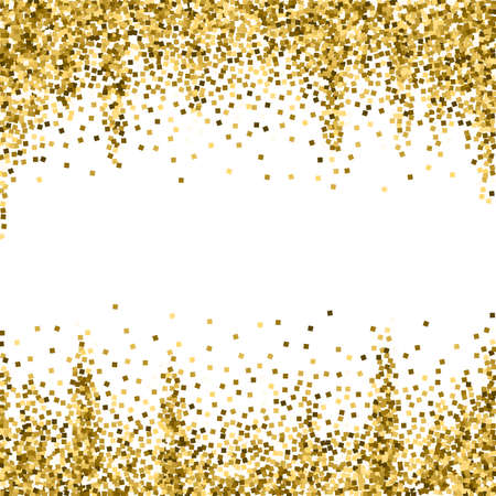 Gold glitter luxury sparkling confetti. Scattered small gold particles on white background. Adorable festive overlay template. Worthy vector illustration. Vetores