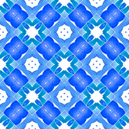 Textile ready ecstatic print, swimwear fabric, wallpaper, wrapping.  Blue fabulous boho chic summer design. Green geometric chevron watercolor border. Chevron watercolor pattern.