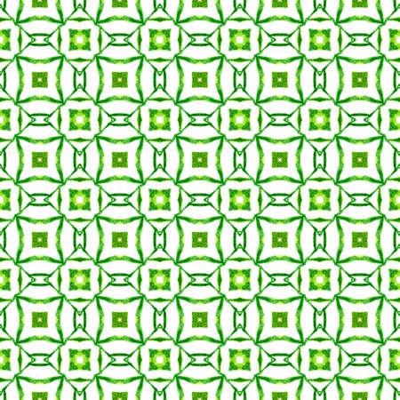 Textile ready fair print, swimwear fabric, wallpaper, wrapping. Green rare boho chic summer design. Hand drawn green mosaic seamless border. Mosaic seamless pattern. Imagens