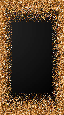 Red round gold glitter luxury sparkling confetti. Scattered small gold particles on black background. Enchanting festive overlay template. Terrific vector background.
