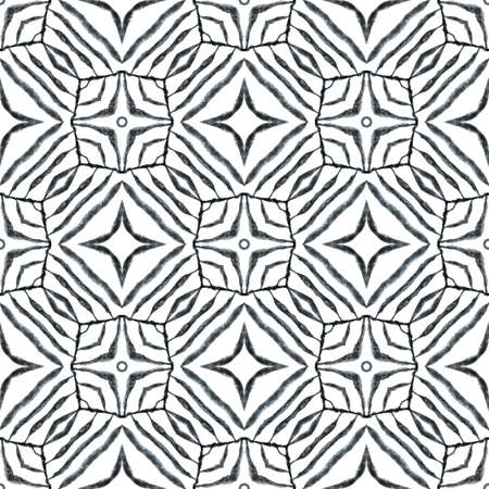 Mosaic seamless pattern. Black and white sublime boho chic summer design. Textile ready delicate print, swimwear fabric, wallpaper, wrapping.  Hand drawn green mosaic seamless border. Stock fotó