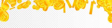 Korean won coins falling. Classic scattered WON coins. Korea money. Magnetic jackpot, wealth or success concept. Vector illustration. Illusztráció